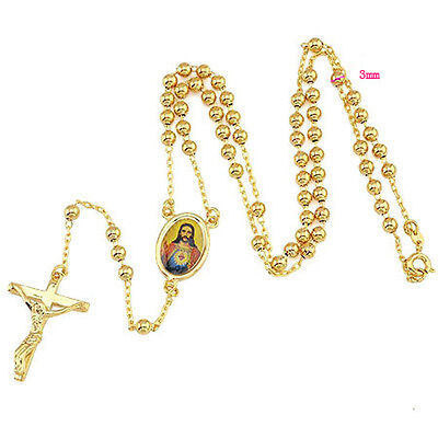 Religious 9K Yellow Gold Filled Rosary Pray Bead Jesus Cross Necklace 14C0374