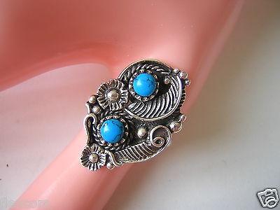 925 Sterling Silber Ring Blattverzierung + 2 Blaue Farbsteine Gr 59 / 8,6 G Kunden Zuerst
