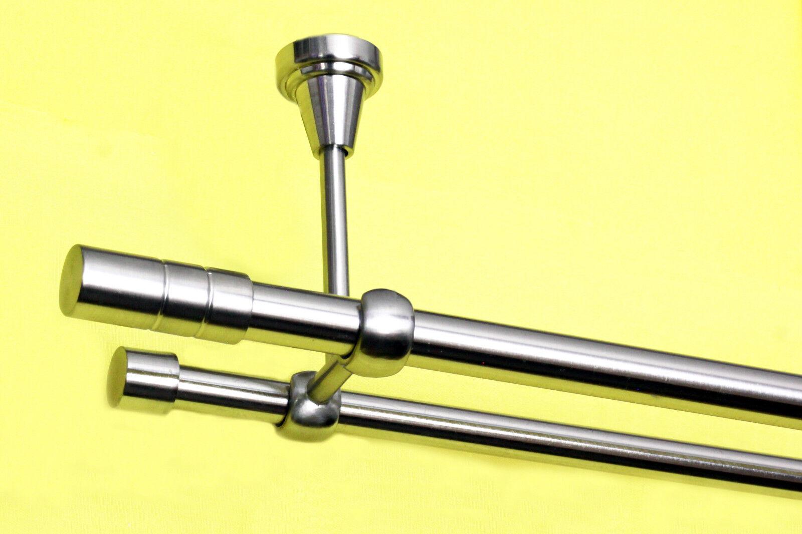 Gardinenstangen zweiläufig 16mm und 20mm mit Endkappen Segment, Edelstahllook    Neuer Markt
