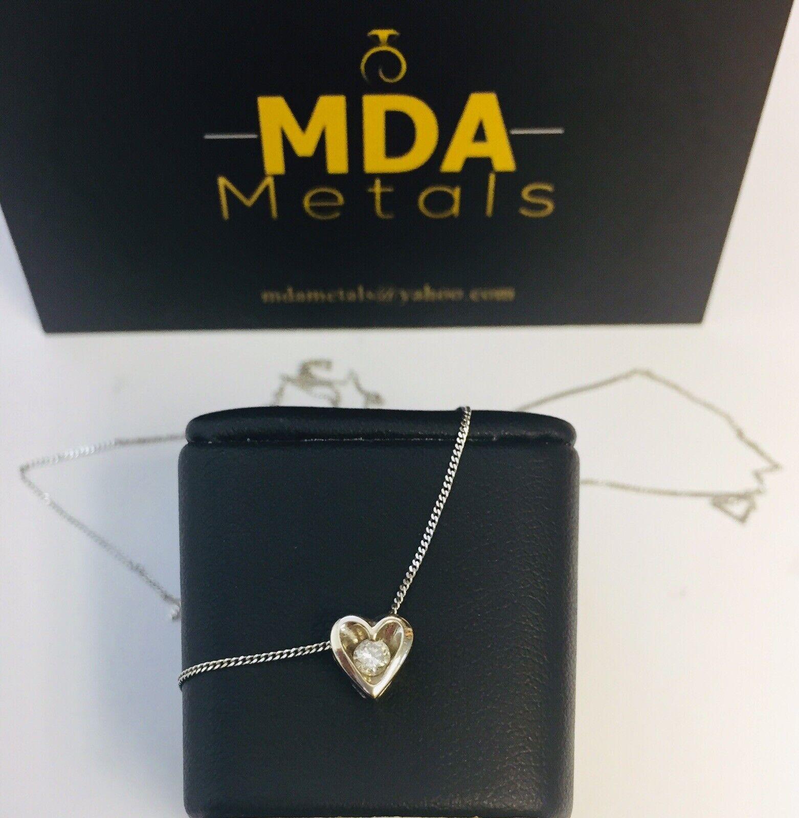 9CT WHITE gold DIAMOND HEART SHAPE PENDANT