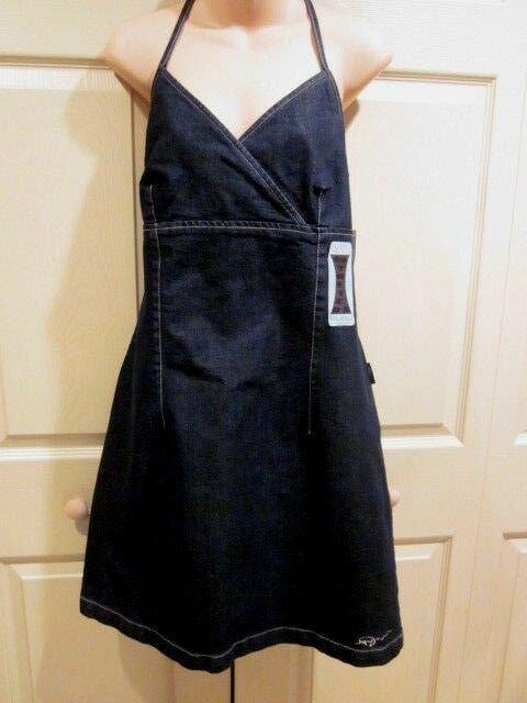 FUBU Classics DRESS WOMENS SIZE 14 bluee Denim Jean Halter STRETCH Summer Dress