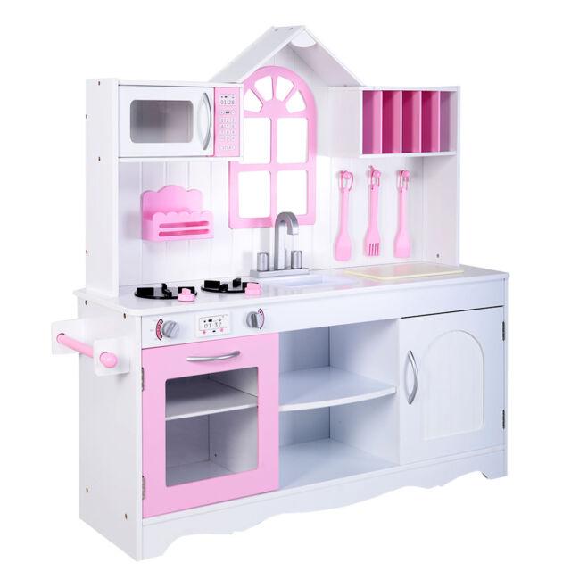 Goplus Kids Wood Kitchen Toy Cooking Pretend Play Set Toddler Wooden Playset  New