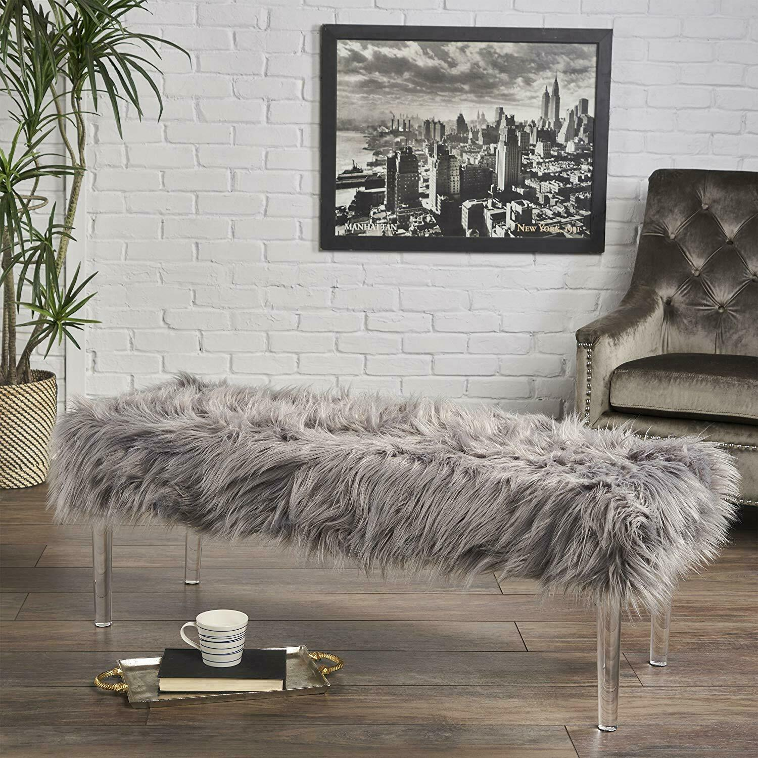 Faux Fur Square Ottoman Bench Upholstered Bedroom Footstool Clear Acrylic Legs For Sale Online Ebay