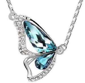 Details about Mother's Day 18K GP Blue Swarovski Elements Crystal Butterfly  Pendant Necklace