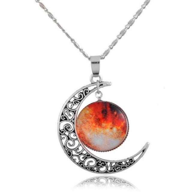1 Mode Damen Halskette Filigran Mond Orange Himmel Anhänger 48.5cm