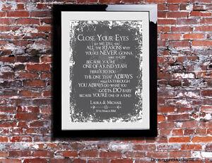 Image Is Loading Michael Buble Close Your Eyes Lyrics Print Wedding