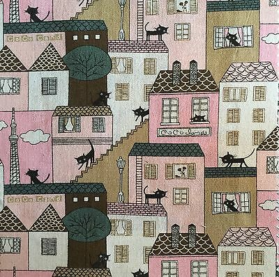 Printed Linen 100/% Pure Cotton  Cat House Pink Gold 150cm wide  sold Per Metre