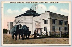 Boston-Massachusetts-Franklin-Park-Elephant-House-Pair-Exercising-Trainers-1920