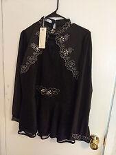 Gothic Steampunk Victorian Retro Lace Bib Ruffle Black Hi-Neck Long Sleeve Top