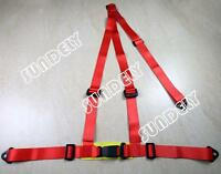 RED 3 POINT RACING SEAT BELT HARNESS FOR CAR/TRACK DAY/OFF ROAD BUGGY