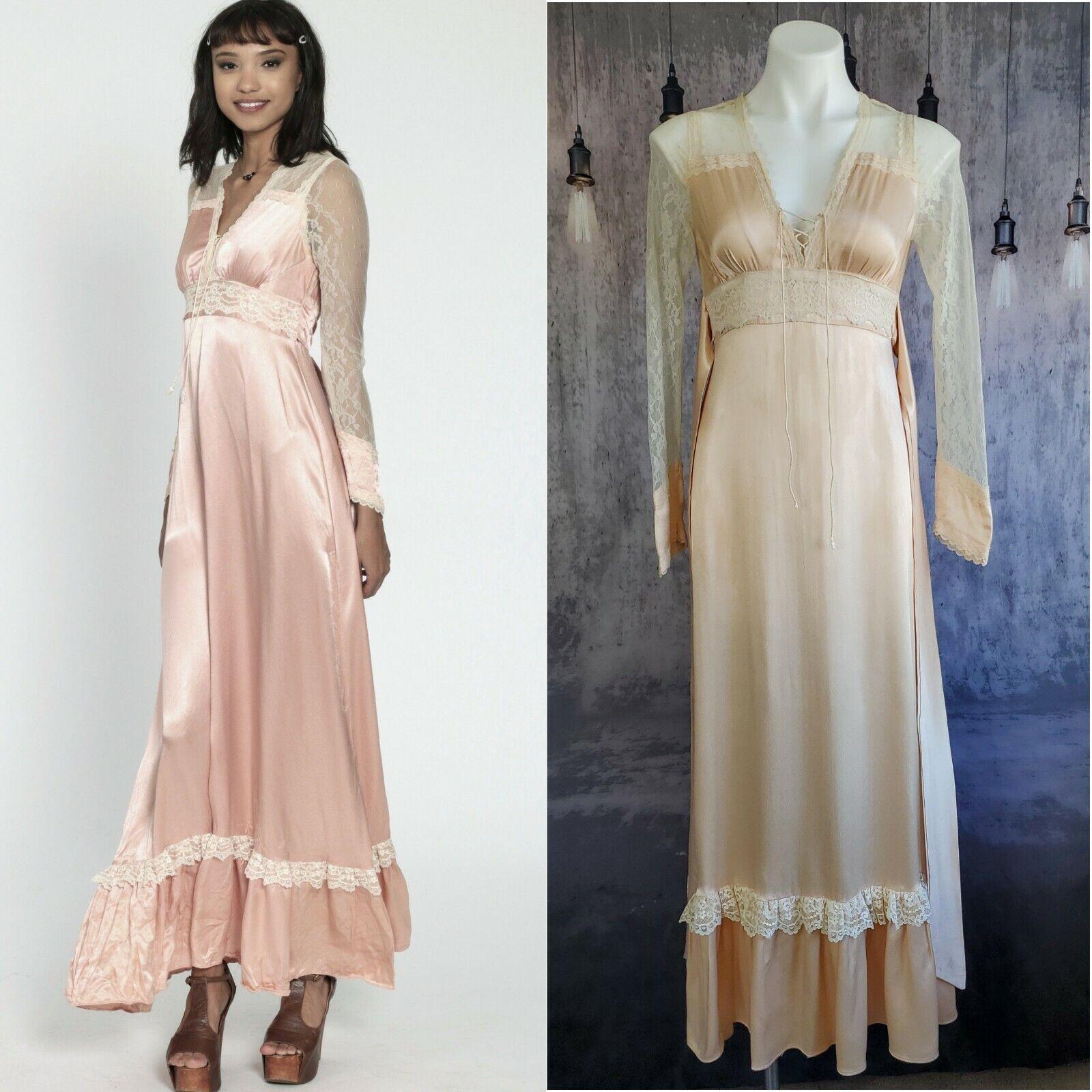 Gunne Sax satin beauty prairie 1970s dress - image 12
