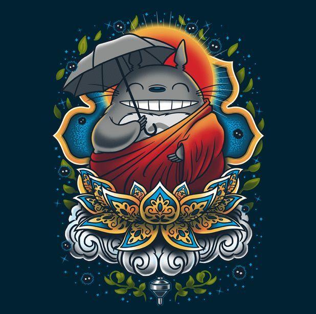 Enlightened Neighbor - TeeFury Shirt - My Neighbor Totoro Buddha studio ghibli