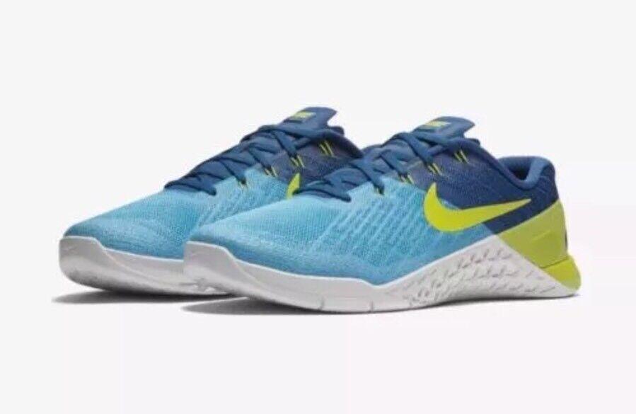 Nike metcon 3 uomini crossfit scarpe blu elettrico lime 852928-401 sz cloro