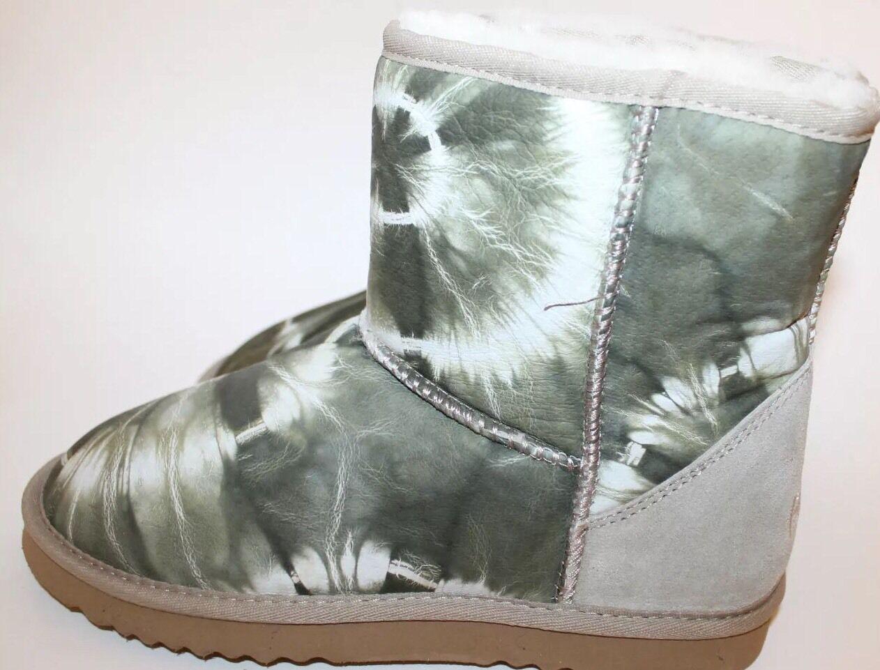 NWT Flurries Tye Dye Print Leather Boots Winter Sz 7 Sheep Skin Lining Women