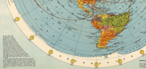 1945 Flat Earth Air Age World Map Globe Wall Art Poster Print Home Decor Office