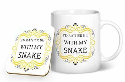 Printed Mug /& Coas... I/'d Rather Be With My Snake Mug And Matching Coaster Set