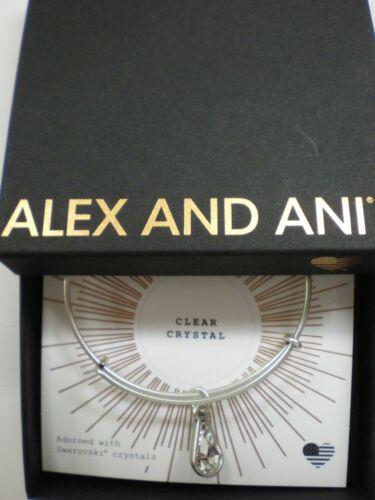 Alex and Ani April Clear Crystal Charm Bangle Bracelet Teardrop Raf Silver NWTBC