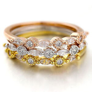 18K-ROSE-GOLD-GF-LADY-GIRLS-MARQUISE-CRYSTAL-STACKABLE-FINGER-TOE-THIN-BAND-RING