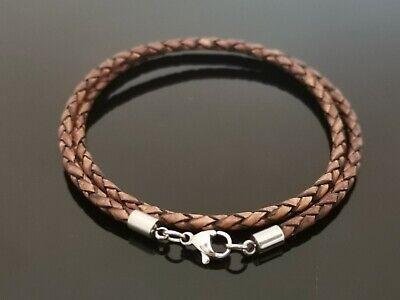 3mm negro//marrón trenzado cuero plata de Ley Collar o pulsera 40.6cm 45.7cm