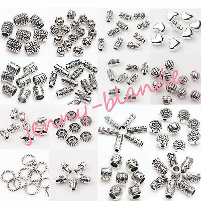 50/100X Tibet Silver Carving Tube Loose Spacer Bead Pendant Jewelry Finding DIY