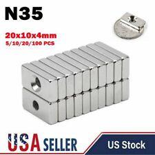 10 20 100 Super Strong Rare Earth Neodymium Block Magnet N35 20x10x4mm Hole Lot