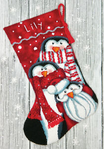 needlepoint kit dimensions happy penguins christmas stocking 71