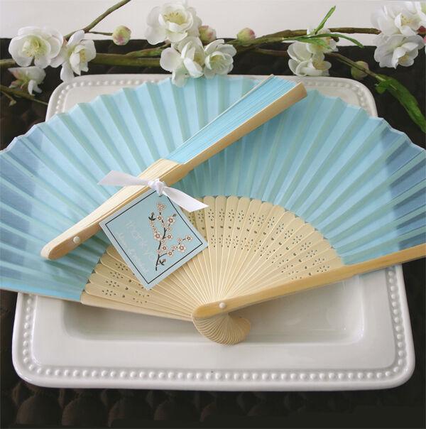 100 bleu Silk Fans BEACH Wedding Favor Place Holder