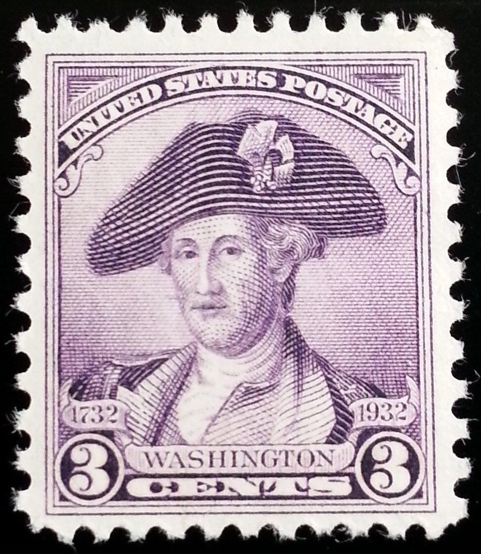 1932 3c George Washington, Deep Violet, Peale Scott 708