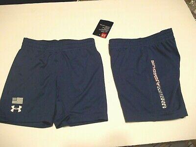 NEW Under Armour boys elastic waist shorts navy blue flag patriotic 18 months