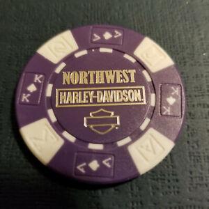 NORTHWEST HD ~ WASHINGTON ~ Harley Davidson Poker Chip Purple//White AKQJ