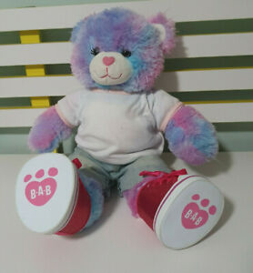 BLUE-PINK-PURPLE-TEDDY-BEAR-BUILD-A-BEAR-BAB-DRESSED-WITH-SPARKLY-SHOES-45CM
