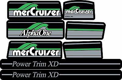 MERCRUISER GREEN ALPHA ONE GEN ONE W//GRAY RAMS STICKER SET