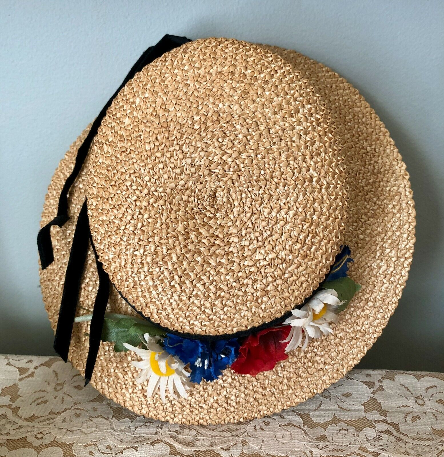 CHARMING VINTAGE 1940's GIRLS CHILDS STRAW WIDE B… - image 5