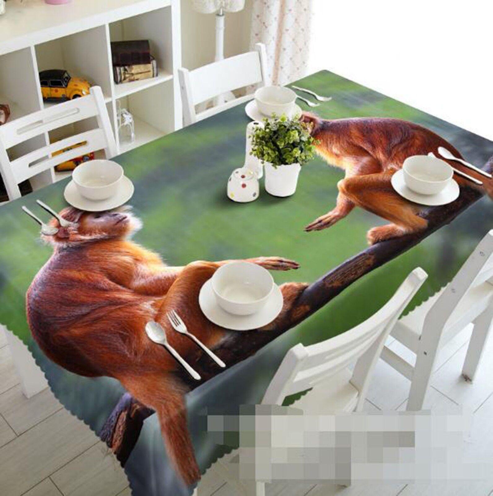 3D Cute Monkey 056 Tablecloth Table Cover Cloth Birthday Party Event AJ Lemon