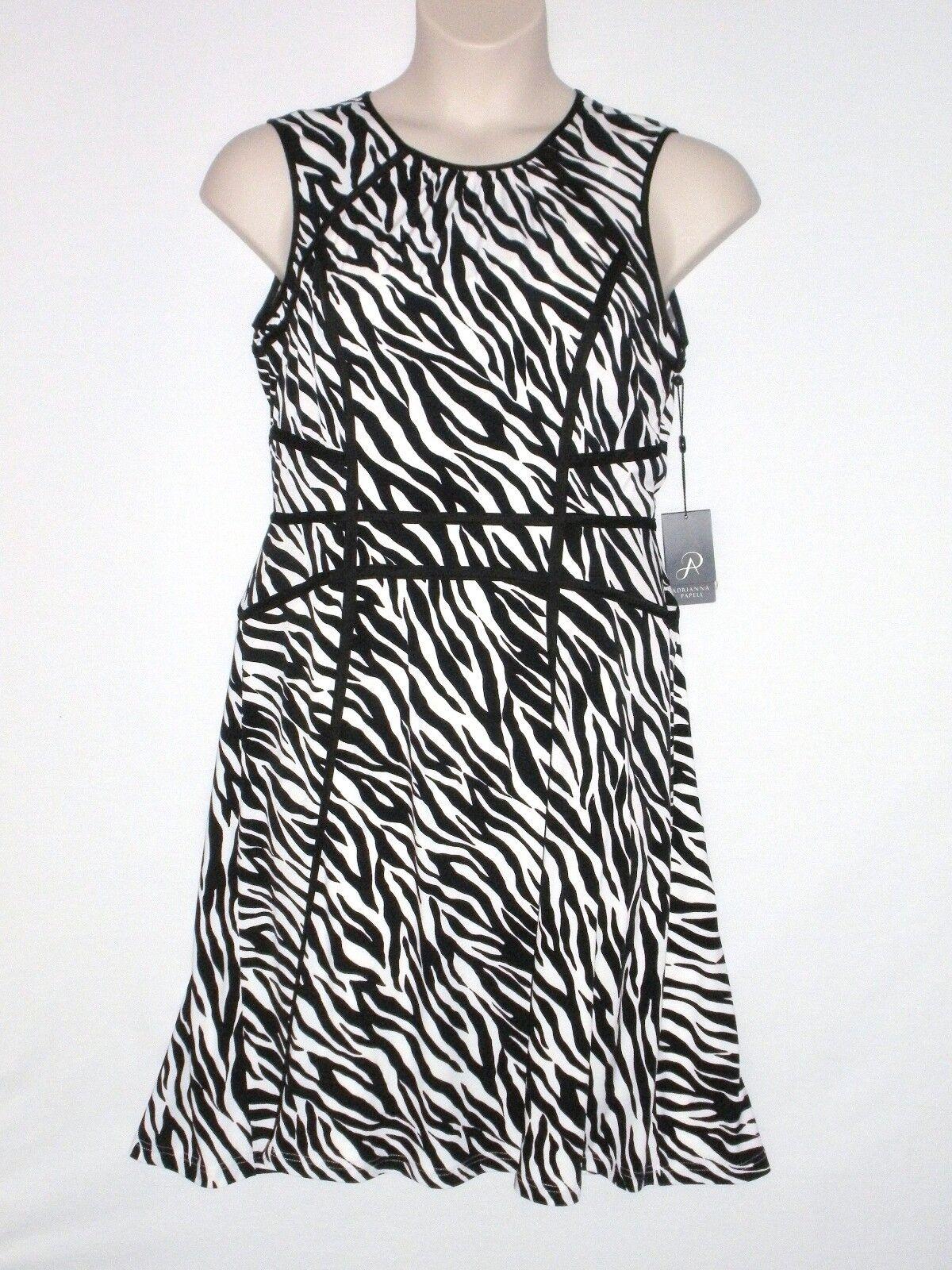 NWT  MSRP  ADRIANNA PAPELL Woherren Zebra A-Line Dress, schwarz Weiß, Größe 12