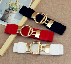 Ladies-Women-Fashion-Gold-Wide-Narrow-Stretch-Elastic-Waist-Belt-Party-Gifts-UK