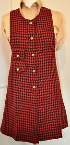 Mod-Dress-1960s-Style-Check-Pinafore-by-Pop-Boutique-size-10-12-red-amp-black
