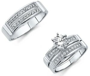 14k-White-Gold-Micro-Pave-Wedding-Band-Bridal-Solitaire-Engagement-Ring-Trio-Set
