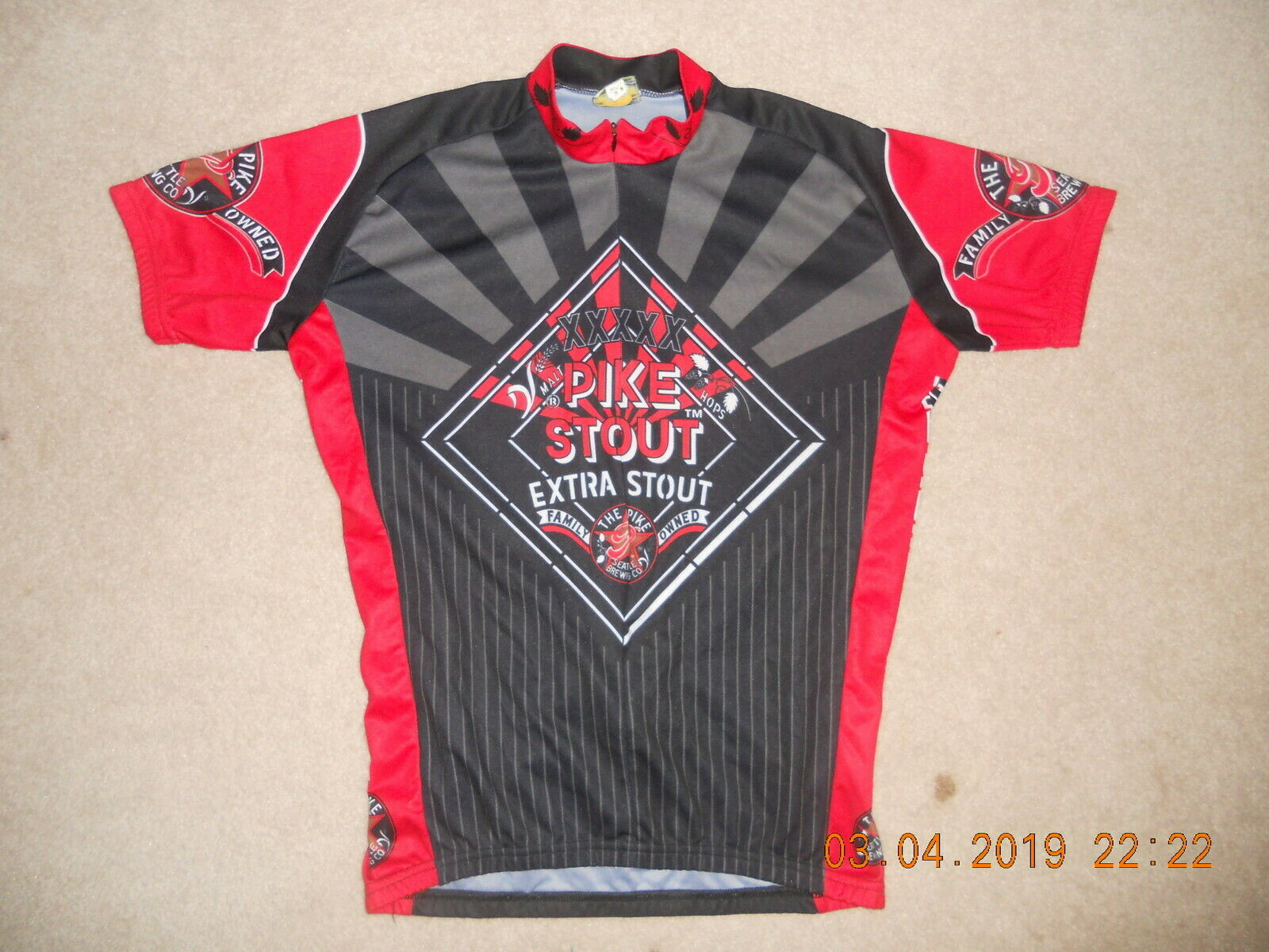 The Pike Extra Stout Cycling Jersey Seattle Brewing Company Micro Craft Beer Med