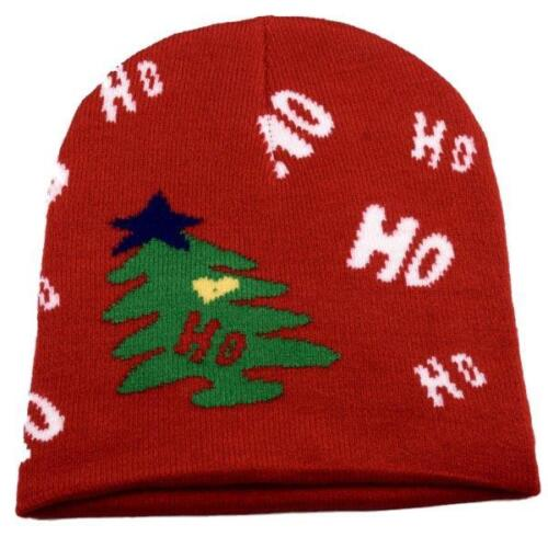 Christmas Knit Beanie Cap Winter Ski Snow Board Toque Xmas Holiday Red//White
