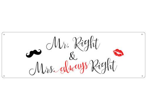Tôle Plaque métal bouclier virent M right /& Mme Always Right deco Mariage
