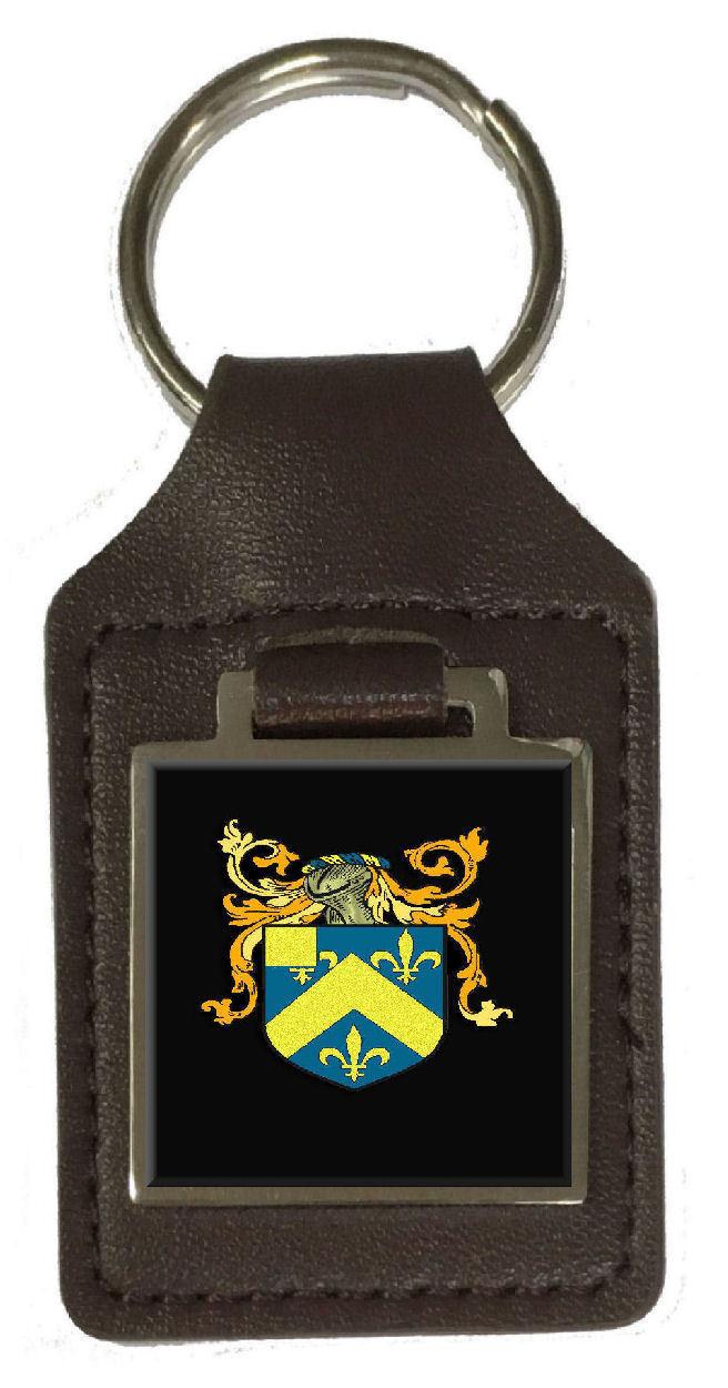 Hill Familie Wappen Familienname Wappen Braunes Leder Schlüsselanhänger | Bequeme Berührung