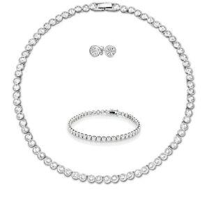 Tennis-Necklace-Earrings-Silver-Bridal-Bracelet-set-Swarovski-Elements-Studs