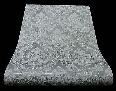 1 Rolle edle Vinyltapete  BAROCK ORNAMENT Design grau mit Glanz 5006-31-3