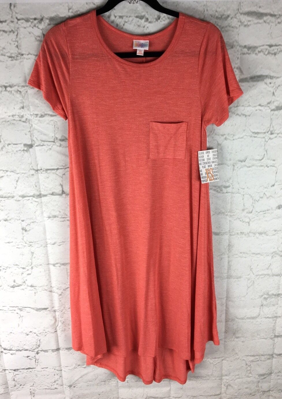 LuLaRoe, NEW With Tags; Carly Dress, X Small XS; Solid Pale Red