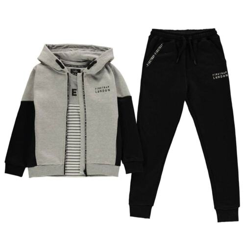 Firetrap 3 Piece Jogger Set Youngster Boys Fleece Tracksuit Full Length Sleeve