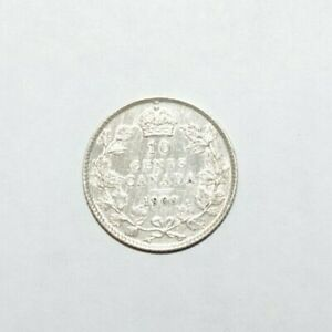 1909-10-Cents-Canada-Broad-Leaves-Silver-High-Grade-V-High-Value-Coin-Error-CK