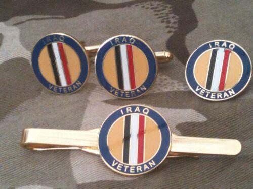 Iraq veterano Gemelos insignia clip de corbata Militar Set De Regalo