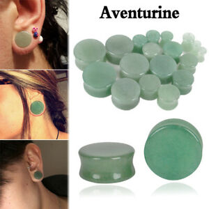 PAIR-8G-1-034-AVENTURINE-GREEN-JADE-STONE-SADDLE-EAR-PLUGS-ORGANIC-EARLETS-GAUGES
