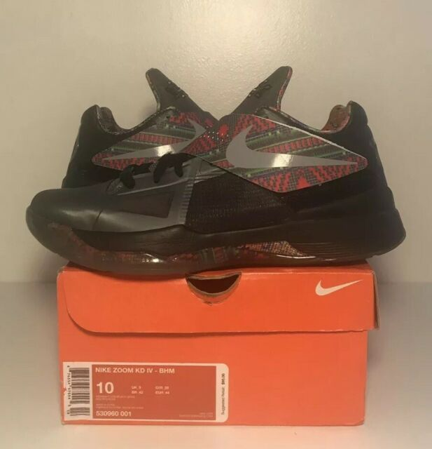 new style e5d04 c4f25 Nike Zoom KD IV 4 BHM Size 10 Black History Month Kevin Durant Basketball  Shoe